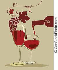 vidro, uvas vermelhas, vinho