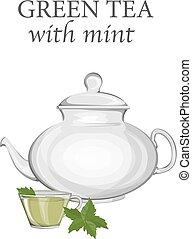 vidro, verde mint, bule, chá