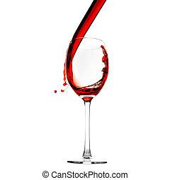 vidro, vermelho, despeje, vinho
