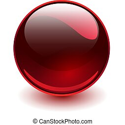 vidro, vermelho, esfera