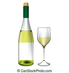 vidro, vetorial, garrafa, vinho