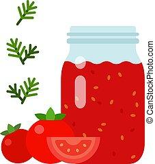 vidro, vetorial, tomate, apartamento, isolado, molho, jarro