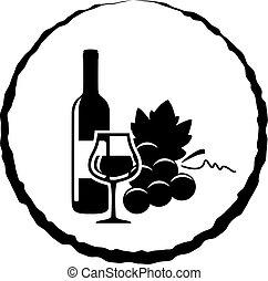 vidro, vetorial, uvas, garrafa vinho, vermelho, ícone
