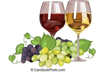 vidro, vetorial, vinho, grapes.