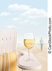 vidro vinho branco, ligado, cadeira