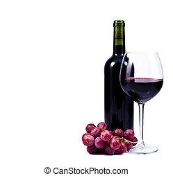 vidro vinho, com, vinho tinto, garrafa vinho, e, uvas