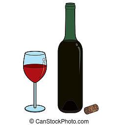 vidro vinho, e, garrafa, vetorial