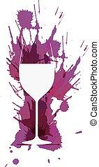 vidro vinho, frente, coloridos, grunge, esguichos