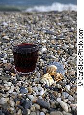 vidro vinho vermelho, e, seashells, praia