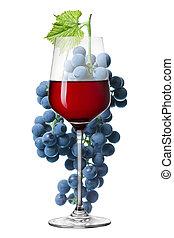 vidro vinho vermelho, e, uva, isolado, branco