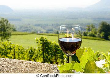 vidro vinho vermelho, exposto, direção, a, sol