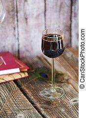 vidro vinho vermelho, ligado, um, tabela madeira