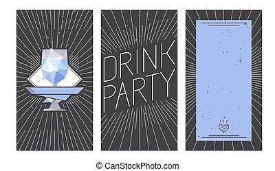 vidro, vodca, bebida, desenho, partido