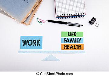 vie, échelle, concept., travail, papier, table, blanc, équilibre