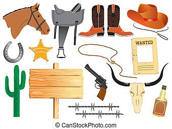 vie, éléments, cow-boy, travail, vecteur, blanc, vêtements