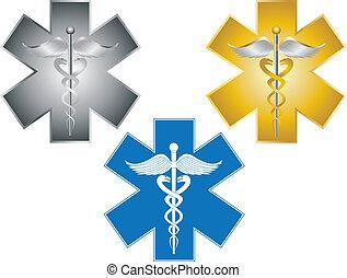 vie, étoile, illustration médicale, caducée, symbole