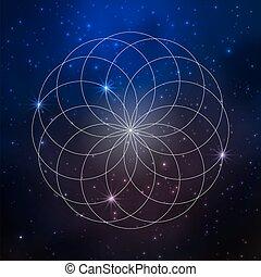 vie, étoiles fleur, espace, géométrie, modèle, fond, sacré
