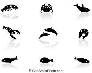 vie, 2, océan, icônes