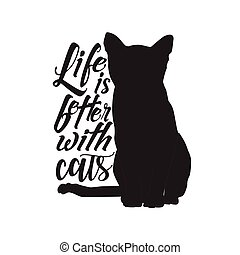 vie, animal, chat, mieux, quote., cats.