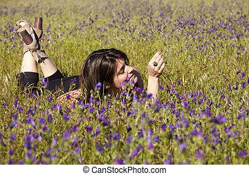 vie appréciant, dans, les, printemps