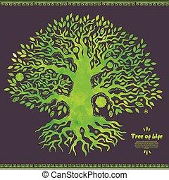 vie, arbre, aquarelle, vecteur, ethnique, unique