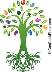 vie, arbre, vecteur, mains, impression, logo, racines