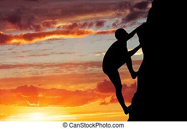 vie, arrière-plan., coucher soleil, rocher, actif, sport, grimpeur