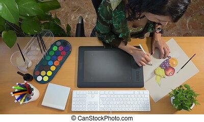 vie, art graphique, tablette, artiste, créativité, encore, technologie, dessin
