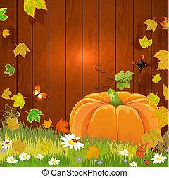 vie, automne, conception, encore, ton, citrouille