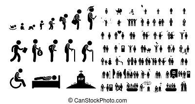 vie bébé, enfant, blanc, étudiant, fond, humain, vieux