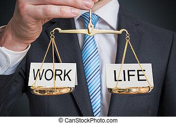 vie, balances., travail, balance., mots, équilibré
