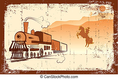 vie, bandit, vecteur, cow-boy, occidental, locomotive.