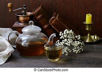 vie, bois, bouilloire thé, rustique, table, encore