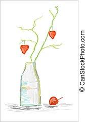 vie, branche, vase, aquarelle, cœurs, encore
