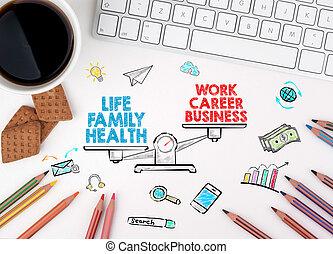 vie, bureau, concept., travaillez bureau, blanc, équilibre