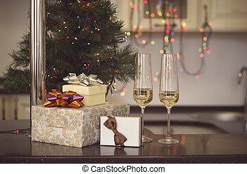 vie, cadeau, champagne, deux, boîtes, encore, lunettes