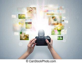 vie, captures, main, appareil photo, numérique, evénements