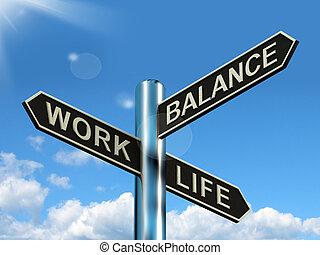 vie, carrière, poteau indicateur, projection, travail, loisir, harmonie, équilibre
