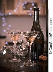 vie, champagne, deux, bouteille, encore, lunettes
