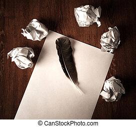vie, chiffonné, stylo, papier, table, encore
