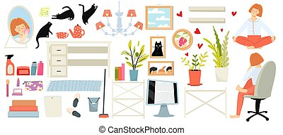 vie, collection, girly, femme, jeune, fond, objets, clipart, blanc, meubles, journalier, maison