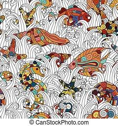 vie, coloré, lotissements, pattern., seamless, dessin animé, eau, thème, vecteur, objets, fond, sous, doodles, détaillé, hand-drawn, sujet