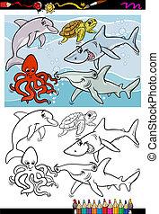 vie, coloration, animaux, livre, mer, dessin animé