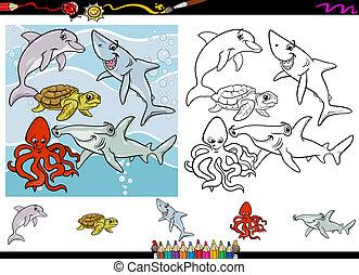 vie, coloration, dessin animé, ensemble, mer, page