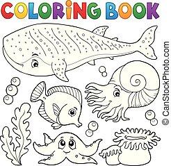 vie, coloration, océan, 1, thème, livre