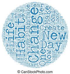 vie, concept, 21, texte, jours, wordcloud, fond, ton, changement