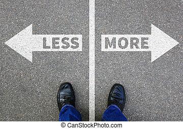 vie, concept, business, moins, décision, mieux, reddition, plus