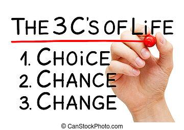 vie, concept, choix, mieux, chance, changement