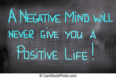 vie, concept, donner, positif, jamais, esprit, négatif, volonté, vous