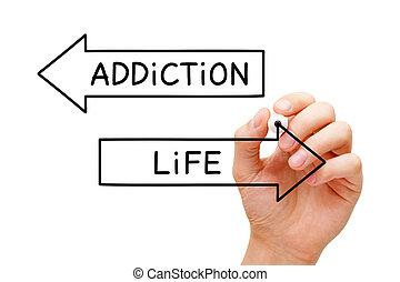 vie, concept, flèches, choix, dépendance, ou